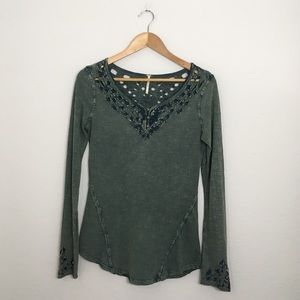 FREE PEOPLE green acid wash long sleeve top small